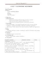 Giáo án Tiếng Anh 12 unit 7: Economic reforms