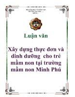 XÂY DỰNG THỰC đơn DINH DƯỠNG CHO TRẺ mầm NON tại TRƯỜNG mầm NON MINH PHÚ