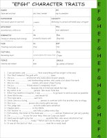 adjectives efgh chracter traits
