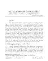 ĐỀ XUẤT HƯỚNG NÂNG CAO CHẤT LƯỢNG GIẢNG dạy các môn lý LUẬN CHÍNH TRỊ