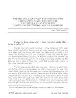 VAI TRÒ của GIẢNG VIÊN đối với NÂNG CAO CHẤT LƯỢNG GIẢNG dạy, học tập các môn lý LUẬN CHÍNH TRỊ TRONG các TRƯỜNG đại học và CAO ĐẲNG