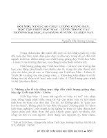 ĐỔI mới, NÂNG CAO CHẤT LƯỢNG GIẢNG dạy, học tập TRIẾT học mác   LÊNIN TRONG các TRƯỜNG đại học, CAO ĐẲNG ở nước TA HIỆN NAY