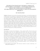 INFORMATION RESOURCE SHARING MODELS IN DEVELOPING COUNTRIES: A NETWORK EMERGING FROM THE WORLD BANK SUPPORTED  ENVIRONMENTAL MANAGEMENT CAPACITY BUILDING