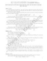 Đáp án đề thi tuyển sinh lớp 10 môn Hóa 2006