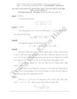 Đáp án đề thi tuyển sinh lớp 10 môn Toán 2005