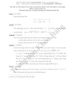 Đáp án đề thi tuyển sinh lớp 10 môn Toán 2006