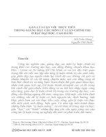 GẮN lý LUẬN với THỰC TIỄN TRONG GIẢNG dạy các môn lý LUẬN CHÍNH TRỊ ở bậc đại học, CAO ĐẲNG