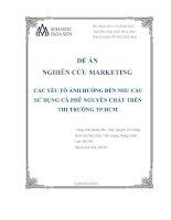 Đề án nghiên cứu marketing các yếu tố ảnh hưởng đến nhu cầu sử dụng cà phê nguyên chất trên thị trường TP hồ chí minh