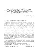 LÝ LUẬN CHÍNH TRỊ và vấn đề NÂNG CAO CHẤT LƯỢNG đội NGŨ GIẢNG VIÊN lý LUẬN CHÍNH TRỊ TRONG các TRƯỜNG đại học, CAO ĐẲNG ở nước TA HIỆN NAY