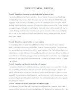 Topic  speaking + writing (Một số chủ đề nói và viết tiếng anh thông dụng)