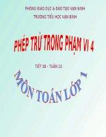 Bài giảng Toán 1 chương 2 bài 4: Phép trừ trong phạm vi 4