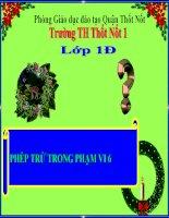 Bài giảng Toán 1 chương 2 bài 8: Phép trừ trong phạm vi 6