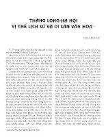 THĂNG LONG HÀ NỘI  VỊ THẾ LỊCH SỬ VÀ DI SẢN VĂN HÓA