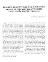 TỔ CHỨC QUẢN LÝ GIÁO DỤC Ở VIỆT NAM TRONG BỘ MÁY CHÍNH QUYỀN THỜI PHÁP THUỘC