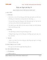 Giáo án Ngữ văn 10 bài: Hoạt động giao tiếp bằng ngôn ngữ