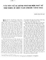 VÀI NÉT VỀ SỰ HÌNH THÀNH ĐỘI NGŨ NỮ TRI THỨC Ở VIỆT NAM TRƯỚC 1975