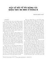 MỘT SỐ YẾU TỐ TÁC ĐỘNG ĐẾN NHẬN THỨC AN NINH Ở ĐÔNG Á