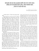 VÀI NÉT SỞ HỮU RUỘNG ĐẤT CỦA CÁC CHỨC DỊCH LÀNG XÃ Ở HUYỆN NGA SƠN  TỈNH THANH HÓA