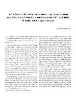 TỪ SÔNG CẦU ĐẾN TUY HÒA  SỰ THAY ĐỔI KHÔNG GIAN PHÁT TRIỂN KINH TẾ  XH Ở PHÚ YÊN