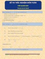Đề thi trắc nghiệm môn toán thầy quang baby