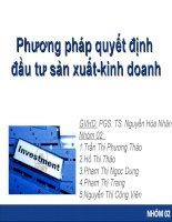 Thuyết trình môn tài chính công ty phương pháp quyết định đầu tư sản xuất kinh doanh