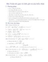 Bài 4   bài toán rút gọn và tính giá trị của biểu thức