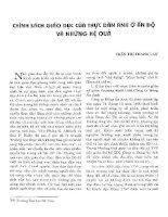 CHÍNH SÁCH GIÁO DỤC CỦA THỰC DÂN ANH Ở ẤN ĐỘ VÀ NHỮNG HỆ QUẢ