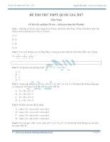 Đề thi thử toán trắc nghiệm 2017