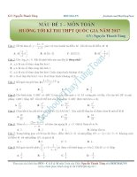 Đề thi toán hướng tới kỳ thi THPTQG 2017 thầy Nguyễn Thanh Tùng
