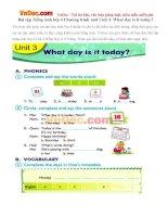 Bài tập Tiếng Anh lớp 4 Chương trình mới Unit 3: What day is it today?
