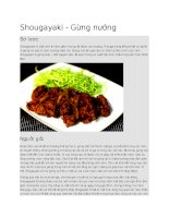 Ẩm thực nhật bản  món gừng nướng shougayaki