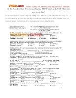 Đề thi chọn lớp khối 10 môn Anh trường THPT Yên Lạc 2, Vĩnh Phúc năm học 2016 - 2017