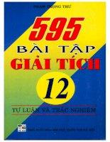 595 Bài tập giải tích 12 tự luận và trắc nghiệm