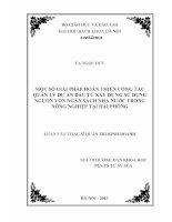 MỘT SỐ GIẢI PHÁP HOÀN THIỆN CÔNG TÁC QUẢN LÝ DỰ ÁN ĐẦU TƯ XÂY DỰNG SỬ DỤNG NGUỒN VỐN NGÂN SÁCH NHÀ NƯỚC TRONG NÔNG NGHIỆP TẠI HẢI PHÒNG