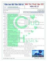 Đề thi thử lần 3   môn vật lý   câu lạc bộ yêu vật lý