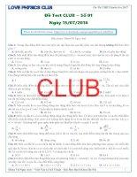Test CLUB   lần 1   năm 2016