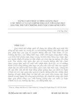 NÂNG CAO CHẤT LƯỢNG GIẢNG dạy các môn lý LUẬN CHÍNH TRỊ gắn với GIÁO dục GIÁ TRỊ TRUYỀN THỐNG dân tộc CHO SINH VIÊN