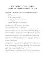 Tài liệu ôn tập môn THANH TOÁN QUỐC TẾ TRONG DU LỊCH