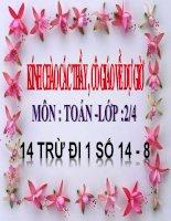 Bài giảng Toán 2 bài 14 trừ đi 1 số 14  8
