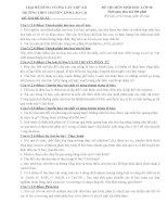 ĐỀ THI và đáp án TRẠI hè HÙNG VƯƠNG lần XII năm 2016 môn SINH học 10  TRƯỜNG CHUYÊN LAI CHÂU