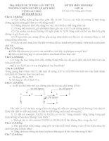 ĐỀ THI và đáp án TRẠI hè HÙNG VƯƠNG lần XII năm 2016 môn SINH học 10  TRƯỜNG CHUYÊN lê QUÝ đôn