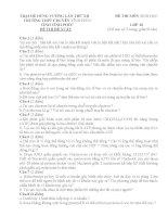 ĐỀ THI và đáp án TRẠI hè HÙNG VƯƠNG lần XII năm 2016 môn SINH học 10  TRƯỜNG CHUYÊN VĨNH PHÚC