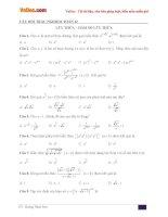 Trắc nghiệm môn Toán lớp 12: Lũy thừa - Hàm số lũy thừa
