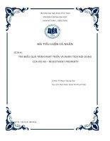 Tiểu luận môn kế toán quốc tế quá trình phát triển và phân tích nội dung IAS 40 investment property
