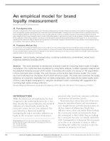 An empirical model for brand loyalty measurement
