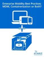 Doanh nghiệp Mobility Thực tiễn tốt nhất: MDM, Containerization hoặc cả hai?