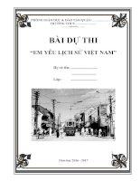 Bài dự thi mẫu Em yêu lịch sử Việt Nam 2016