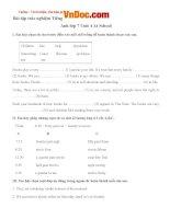 Bài tập trắc nghiệm tiếng anh lớp 7 unit 4