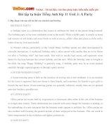 Bài tập tự luận Tiếng Anh lớp 11 Unit 3: A Party