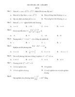 Trắc nghiệm tổng quan chuyên đề hàm số mũ và logarit